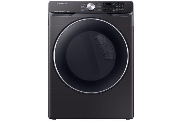 Large image of Samsung Fingerprint Resistant Black Stainless Steel Gas Steam Dryer - DVG45R6300V/A3