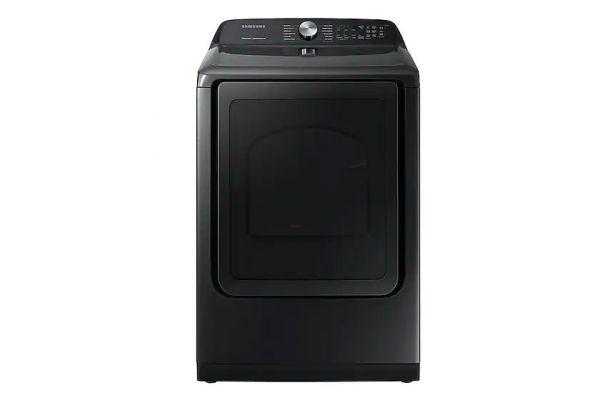 Large image of Samsung Fingerprint Resistant Black Stainless Steel Gas Steam Dryer - DVG50R5400V/A3