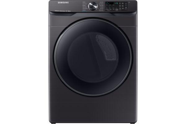 Large image of Samsung 7.5 Cu. Ft. Fingerprint Resistant Black Stainless Steel Electric Steam Dryer - DVE50R8500V/A3