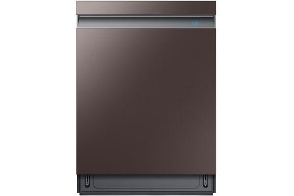 "Large image of Samsung 24"" Fingerprint Resistant Tuscan Stainless Steel Smart Linear Wash 39 dBA Dishwasher - DW80R9950UT/AA"
