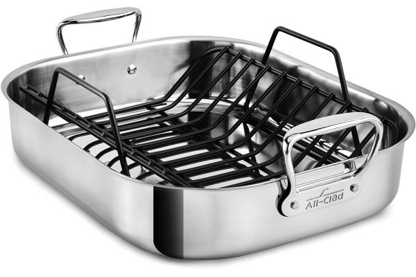 Large image of All-Clad Stainless Steel Large Roasting Pan With Rack - E752C264