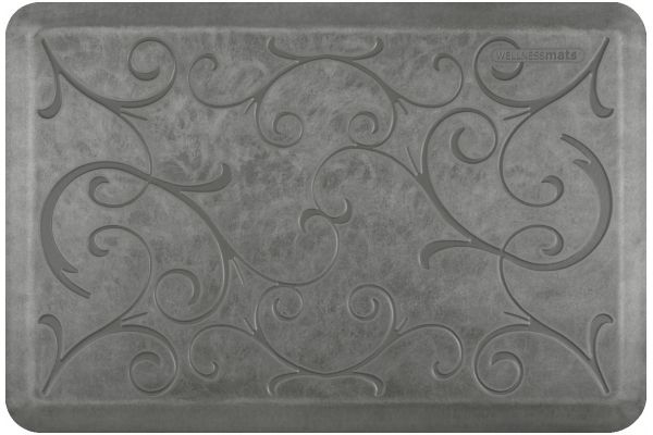 Large image of WellnessMats Estates Collection 3x2 Bella Silver Leaf Mat - EB32WMRSL