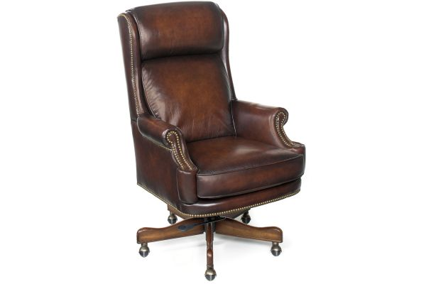 Large image of Hooker Furniture Brown Home Office Kevin Executive Swivel Tilt Chair - EC293