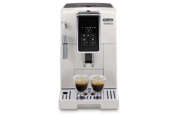Large image of Delonghi Dinamica White Automatic Coffee & Espresso Machine With Iced Coffee, TrueBrew Over Ice - ECAM35020W