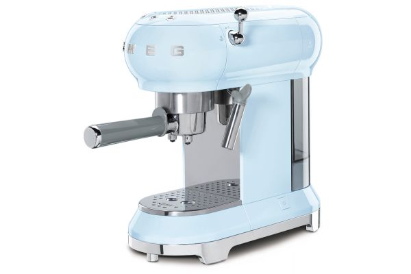Large image of Smeg 50s Retro Style Pastel Blue Espresso Machine - ECF01PBUS