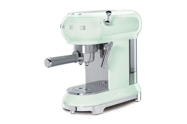 Large image of Smeg 50s Retro Style Pastel Green Espresso Machine - ECF01PGUS