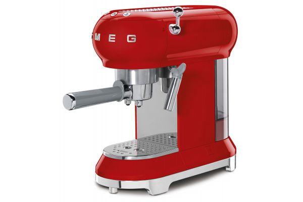 Large image of Smeg 50s Retro Style Red Espresso Machine - ECF01RDUS