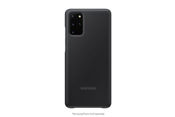Large image of Samsung Black S-View Flip Cover For Galaxy S20+ 5G - EF-ZG985CBEGUS