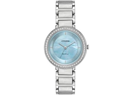 Citizen Eco-Drive Silver Tone Silhouette Crystal Womens Watch - EM0480-52N