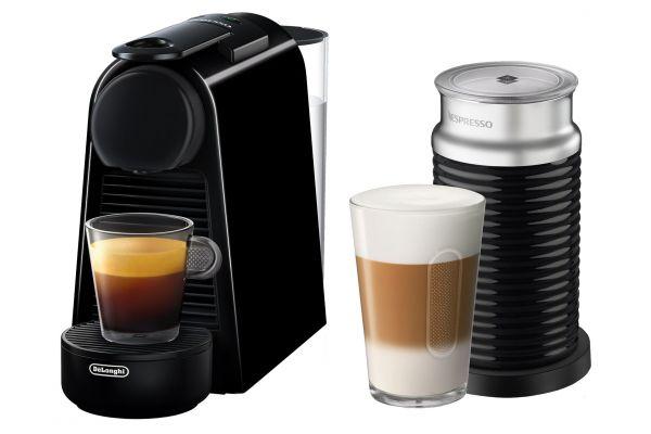 Large image of Nespresso Piano Black Essenza Mini Espresso Machine With Aeroccino - EN85BAE