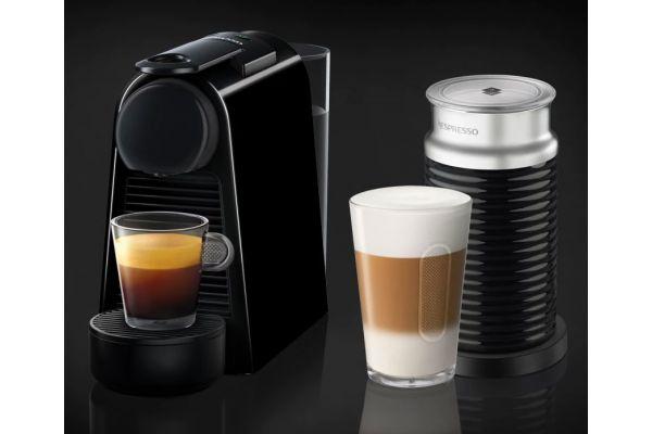 Nespresso Piano Black Essenza Mini Espresso Machine Bundle - EN85BAE