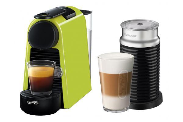 Large image of Nespresso Lime Green Essenza Mini Espresso Machine With Aeroccino - EN85LAE