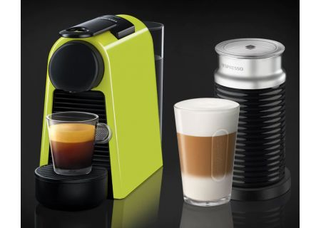 Nespresso Lime Green Essenza Mini Espresso Machine Bundle - EN85LAE
