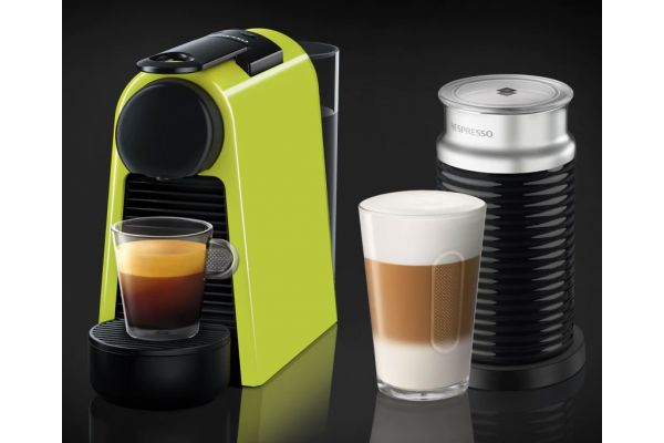 Nespresso Lime Green Essenza Mini Espresso Machine Bundle - EN85LAE