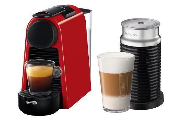 Large image of Nespresso Ruby Red Essenza Mini  Espresso Machine With Aeroccino - EN85RAE
