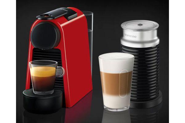Nespresso Ruby Red Essenza Mini Espresso Machine Bundle - EN85RAE