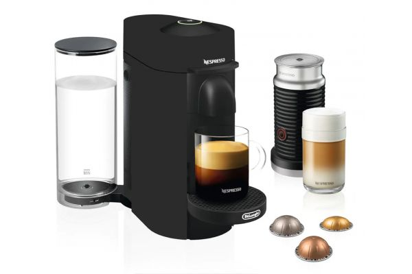 Large image of Nespresso Matte Black Limited Edition Vertuo Plus Coffee And Espresso Maker with Aeroccino - ENV150BMAE