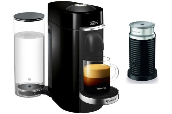 Large image of Nespresso Black VertuoPlus Deluxe Espresso Machine Bundle - ENV155BAE