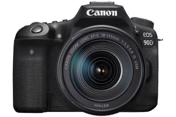 Large image of Canon EOS 90D Black DSLR Camera With EF-S 18-135mm f/3.5-5.6 IS USM Lens - 3616C016