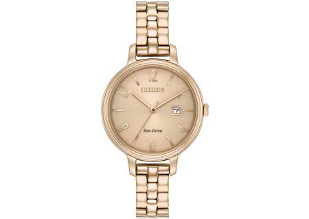 Citizen Eco-Drive Rose Gold Tone Chandler Womens Watch - EW2443-55X