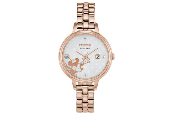 Large image of Citizen Minnie Mouse Diamond Rose Gold Tone Womens Watch - EW244851W