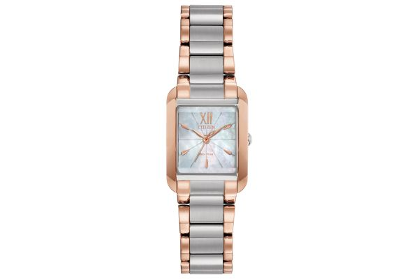 Large image of Citizen Bianca Two-Tone Stainless Steel And Rose Gold Watch, White Mop Dial - EW555652D