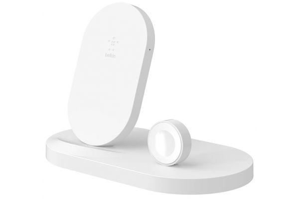 Belkin BoostUp Wireless White Charging Dock for Apple Watch + iPhone - F8J235TTWHT