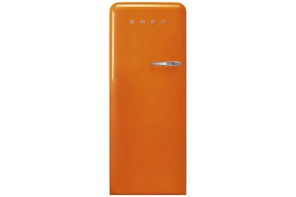 Large image of Smeg 50's Retro Style Aesthetic Left-Hinge Orange Refrigerator - FAB28ULOR3