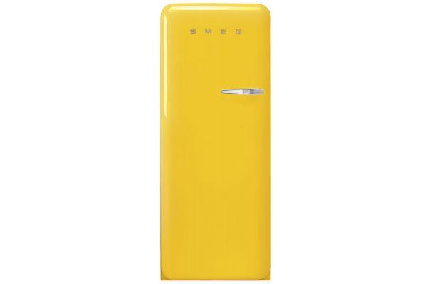 Large image of Smeg 50's Retro Style Aesthetic Left-Hinge Yellow Refrigerator - FAB28ULYW3