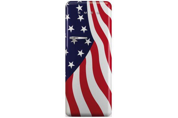 Large image of Smeg 50's Retro Style Aesthetic Right-Hinge American Flag Refrigerator - FAB28URDUS3
