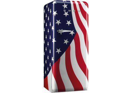 Smeg 50's Retro Style Aesthetic Right Hinge USA Flag Refrigerator - FAB28UUSR1