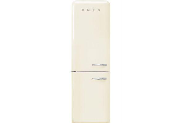 """Large image of Smeg 50's Retro Style Aesthetic 24"""" Cream Left-Hinge Bottom Freezer Refrigerator - FAB32ULCR3"""