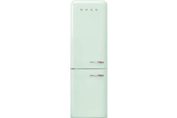 """Large image of Smeg 50's Retro Style Aesthetic 24"""" Pastel Green Left-Hinge Bottom Freezer Refrigerator - FAB32ULPG3"""