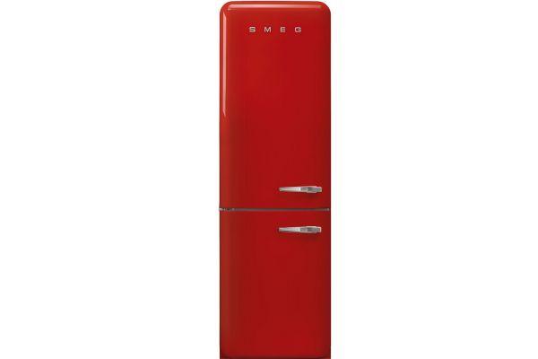 """Large image of Smeg 50's Retro Style Aesthetic 24"""" Red Left-Hinge Bottom Freezer Refrigerator - FAB32ULRD3"""