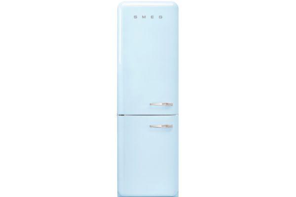 Smeg 50s Retro Style Aesthetic Left Hinge Pastel Blue Refrigerator - FAB32UPBLN