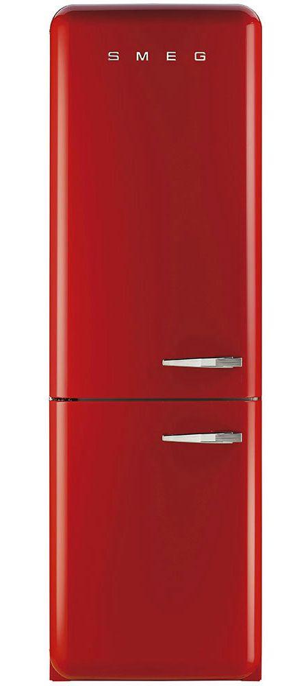 Smeg 50s Retro Style Aesthetic Left Hinge Red Refrigerator Fab32urdln