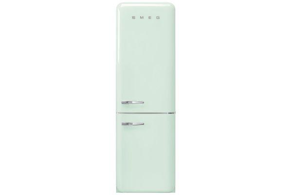 """Large image of Smeg 50's Retro Style Aesthetic 24"""" Pastel Green Right-Hinge Bottom Freezer Refrigerator - FAB32URPG3"""