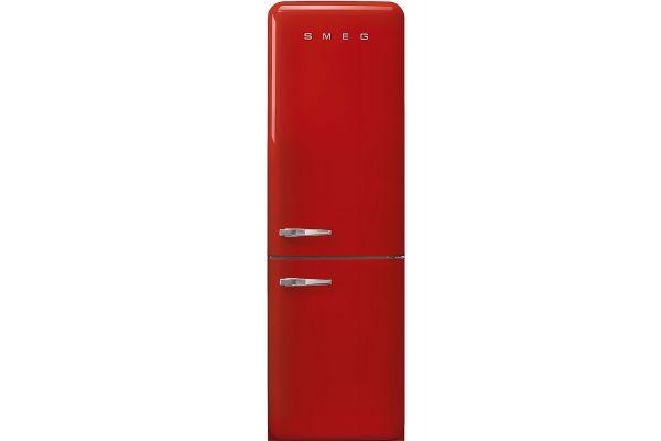 """Large image of Smeg 50's Retro Style Aesthetic 24"""" Red Right-Hinge Bottom Freezer Refrigerator - FAB32URRD3"""