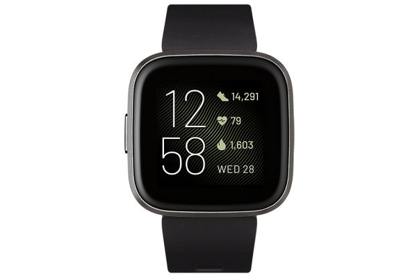 Fitbit Versa 2 Black And Carbon Aluminum Fitness Smartwatch - FB507BKBK