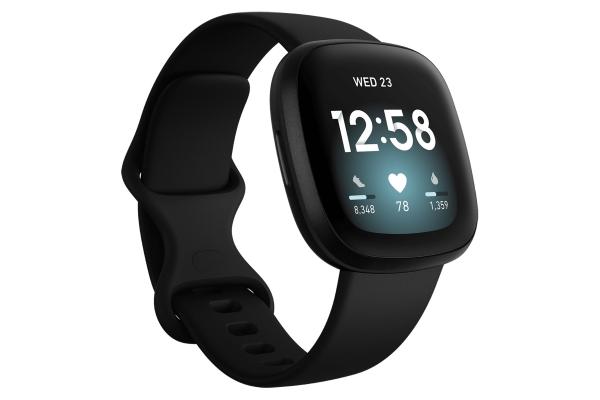 Large image of Fitbit Versa 3 Black Fitness Smartwatch - FB511BKBK