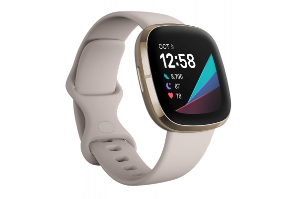 Large image of Fitbit Sense Lunar White/Soft Gold Stainless Steel Fitness Tracker - FB512GLWT