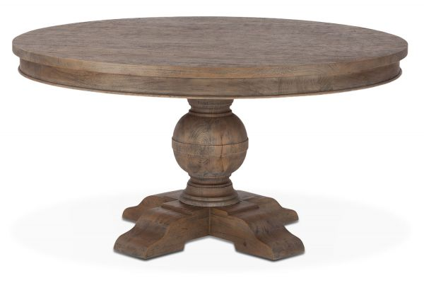 "Large image of Home Trends & Design 54"" Weathered Teak Colonial Plantation Round Dining Table - FCP-RD54WT"