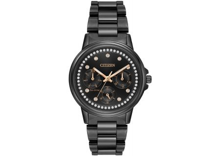 Citizen Eco-Drive Silhouette Crystal Black Womens Watch - FD2047-58E