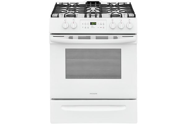 """Large image of Frigidaire 30"""" White Front Control Freestanding Gas Range - FFGH3054UW"""
