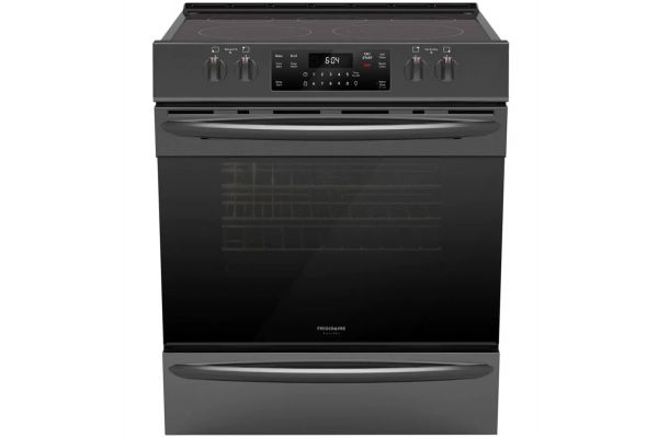 Frigidaire Gallery 30'' Black Stainless Steel Front Control Electric Range with Air Fry - FGEH3047VD