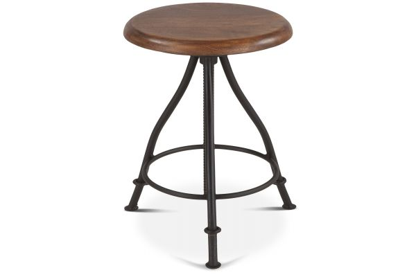 Large image of Home Trends & Design Industrial Loft Stool With Walnut Top - FIL-SL13WN