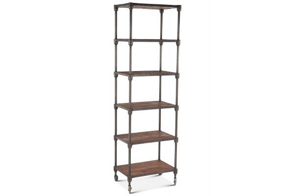 "Large image of Home Trends & Design Industrial Teak 80"" Wheeled Bookshelf - FIT-TRW25"