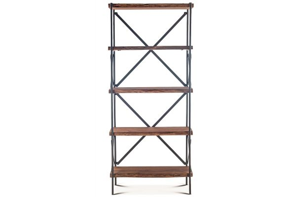 "Large image of Home Trends & Design Organic Forge 34"" Raw Walnut Tall Bookshelf - FOF-BS34RWAZ"