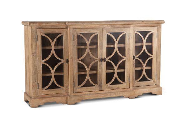 "Large image of Home Trends & Design San Rafael 75"" Antique Oak Glass Cabinet - FSR-GC75AO"