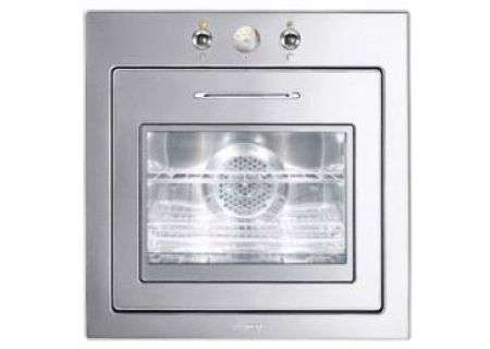 """Smeg Piano Design 24"""" Stainless Steel Single Wall Oven - FU675"""